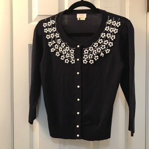 Kate Spade Navy Blue White beaded cardigan SZ S